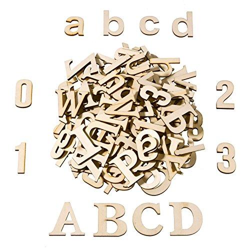 Satinior 124 Stücke Total Holz Große Buchstaben Holz Kleinbuchstaben Hölzerne Zahlen für Kunst Handwerk DIY Dekoration Anzeigen (Holz-buchstaben Zahlen)
