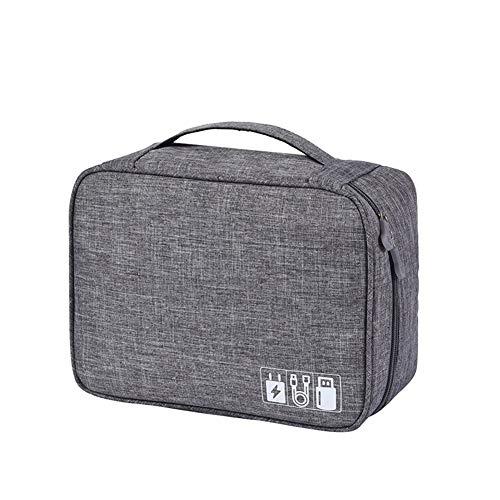 YuYaX Home Tragbare Reise-Kabel-Organizer-Tasche Elektronik-Zubehör Aufbewahrungskoffer, Ladegerät, Adapter, Festplatten, Gray
