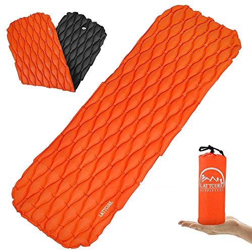 LATTCURE 2 Kleines Packmaß Ultraleichte Camping Isomatte  für Camping, Reise, Outdoor, Wandern, Strand, Orange/Schwarz, 1 -
