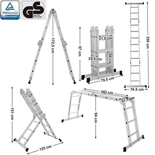 Conforme al Est/ándar EN131 T/ÜV Rheinland GS GLT36M Carga de Capacidad de 150 kg M/áx SONGMICS Escalera de Aluminio Multifuncional