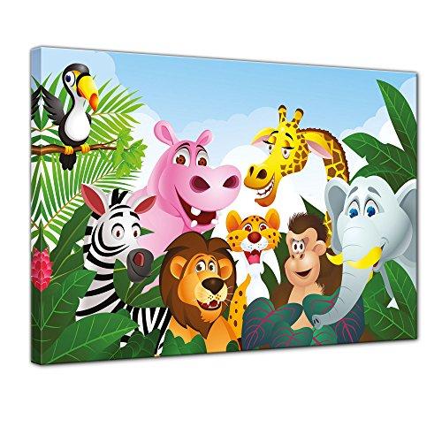 (Kunstdruck - Kinderbild Dschungeltiere Cartoon III - Bild auf Leinwand - 80x60 cm einteilig - Leinwandbilder - Kinder - Gruppenbild von Wilden Tieren)