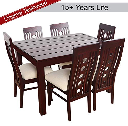 Furny Franco Teak Wood Dining Table Set in Mohgany Polish