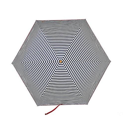 Royal 6 Licht (hfudfrvhfjdg Folding Umbrella's Dach Frauen Sonnenschirm 3-layer Ultra Light Anti-UV-Licht, frisch, Royal Blue Stripe, 53 cm * 6 k)