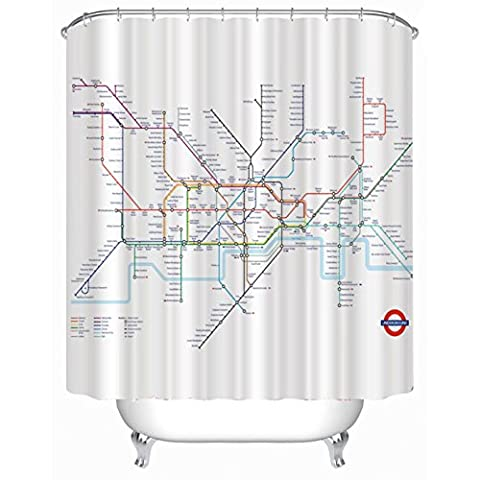 KKLL London Subway map Polyester Shower curtain Waterproof mildew Printing Shower curtain Bathroom Decoration Hanging curtain 180*180cm , 180cmx180cm