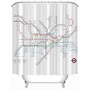 KKLL Mapa del metro de Londres de moho impermeable cortina de ducha de poliéster impresión visillo baño decoración colgante de la cortina 180 * 180cm