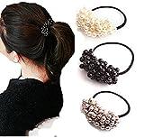 cuhair (TM) Frauen Mädchen PCS (1schwarz, 1grau, 1weiß) Kunststoff Haargummi Legierung Punk elastisches Haar Krawatte Haar Seil Gummi Pferdeschwanz Halter Zubehör