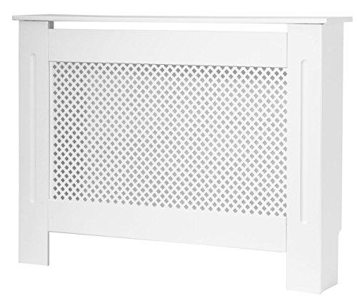 Meuble cache-radiateur Forest en MDF blanc laqué, taille moyenne, grille en losange
