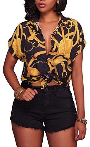 YOGLY Femme Chemisier Sexy D'Impression Manches Courtes Top Blouse Mode Blouse Casual Chic Noir