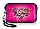Luxburg Design étui universel housse de protection pour appareil photo Canon Nikon Sony Olympus Kodak Pentax Fujifilm Rollei Sigma Samsung numérique compact, motif: Cœur en fleurs sur rose
