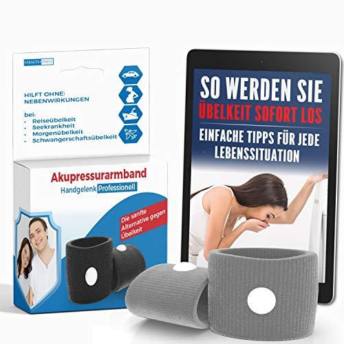 Akupressur Armband gegen Übelkeit - Ideal für Schwangerschaftsübelkeit, Seekrankheit, Reiseübelkeit (Grau) + E-Book: So werden Sie Übelkeit sofort los! -