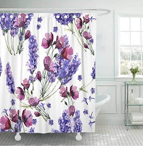 Chenghao's shop Duschvorhänge Wasserdicht Und Schimmelresistent 3D-Digitaldruck Badvorhang Wildflower Lavender Flower In Aquarell Voll 180 (B) X 180 (H) cm Japan Wildflower