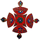Handmade Elegantly Designed Red Rangoli - With Diya Shaped Design Decorated With Stones And Beads On Red Elongated Square Shaped Plastic Base - 5 Pieces Set - Packed In Transparent Pouch