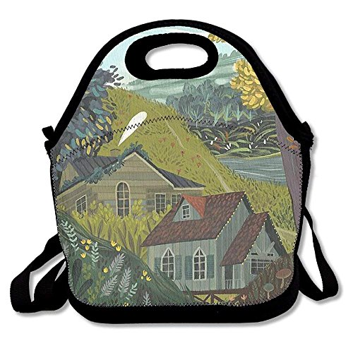 Tote Forest Hut Lunch Boxes Lunch Bags Handbag Food Storage Fits for School Travel Work Outdoor ()