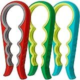 Aifuda Glasöffner, Gummigriff, griffsicher, für Flaschen und Gläser, ideal bei Arthritis und für Senioren, 3er Set (rot, blau, grün)