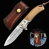 NedFoss Fox Damast Taschenmesser Klappmesser Damaststahl Messer Outdoor Damastmesser Folder Knife...