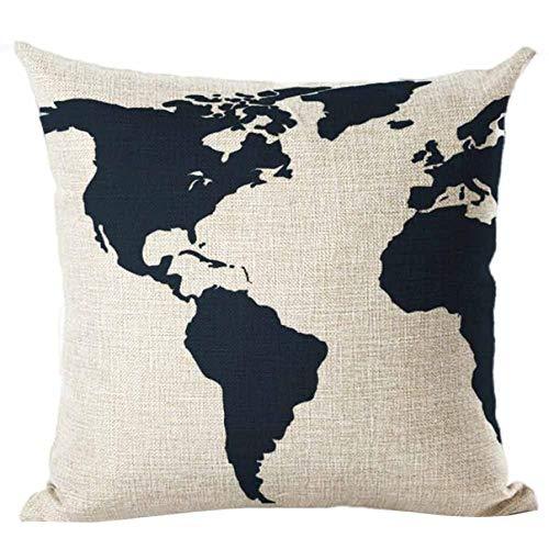 45 * 45 Karte Der Welt Drucken Kissenbezüge Leinen Baumwolle Sofakissenbezug Wohnkultur Neue Beige ()