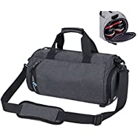 Asiki Waterproof Nylon Gym Bag Round Sports Duffel Bag with Shoe Compartment Travel Sports Bag, 2 Sizes for Choice