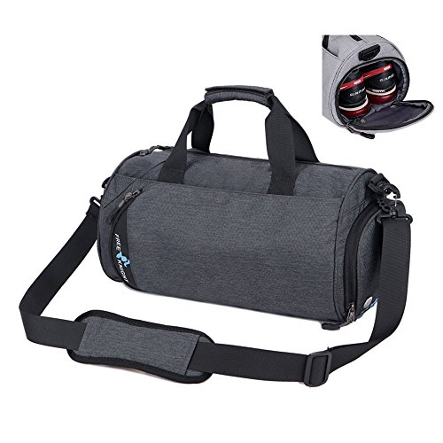 Asiki Waterproof Nylon Gym Bag Round Sports Duffel Bag with Shoe Compartment Travel Sports Bag, 2 Sizes for Choice (Dark grey(Medium))