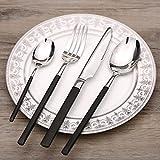 PORCN im westlichen Stil Bone China Geschirr im Europäischen Stil Western Dish Platte Steak Teller Set Home Salatteller Italien Abdeckplatte. Schwarzes Gold Gabel, Löffel und Teelöffel
