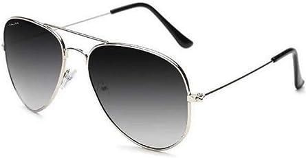 Silver Kartz Aviator Unisex Sunglasses (WY110|40|Grey)