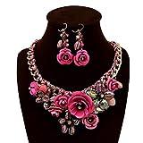 ColorYan Exquisito Regalo de joyería Collar Llamativo de la Flor Pendientes Conjuntos Traje para Mujer Conjunto Grueso de Joyas de Boda para la Fiesta de Bodas (Color : Fucsia)