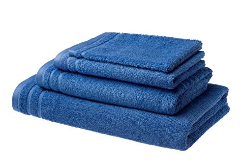 Lot de 4 serviettes de bain Luxe en coton peigné 500g/m² - 1 serviette bain, 1 drap de douche, 1 serviette invité, 1 gant de toilette (Ocean)