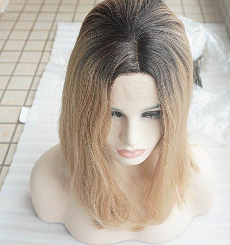 Hot ventes de qualité supérieure Blond Clair Bob Perruques Perruque lace front synthétique avec racines foncé perruque cheveux résistant à la chaleur en stock (Blond)