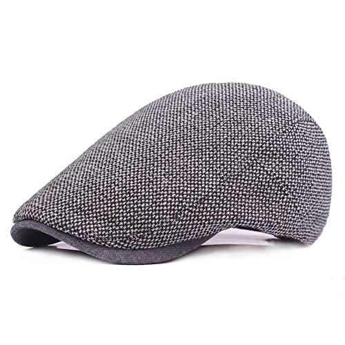 (Unisex Baumwolle Vintage Atmungs Beret Cap Flat Schirmmütze Visier Für Männer Frauen Outdoor Sport Reise (Farbe : Grau))