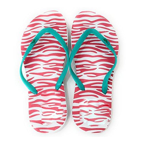 Donna Infradito Per Spiaggia e Piscina Sole Zebra Rossa, Nastro Turchese
