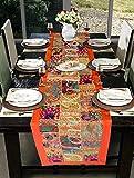 Hare Krishna Vintage bestickte Patchwork Tischdecke in Baumwolle (Orange) 30 x 152 Cm