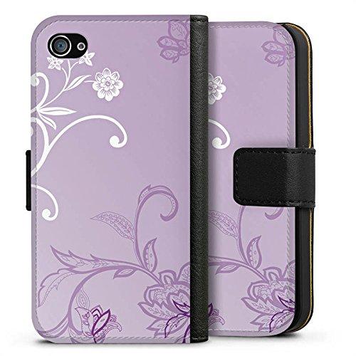 Apple iPhone X Silikon Hülle Case Schutzhülle Ranken Blumen Muster Sideflip Tasche schwarz