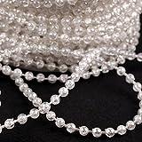 Schnoschi 2m Perlen Silber 4mm Perlenband Perlenkette Perlengirlande Perlenschnur Weihnachten Advent Hochzeit Deko Tischdeko Meterware