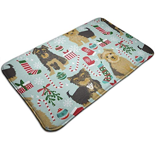 deyhfef Yorkie Christmas Kitchen Carpet Rug Door Mat Rug for Bathroom Outdoor Porch Laundry Living