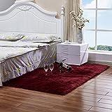 BINGMAX Faux Lammfell Schaffell Teppich Modern Wohnzimmer Teppich Flauschig Lange Haare Fell Optik Gemütliches Schaffell Bettvorleger Sofa Matte Weinrot 100 * 180