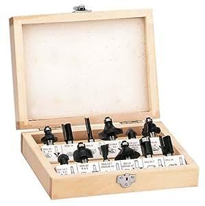 Einhell Fräser Set passend für Elektro Oberfräsen (12-teilig, Lieferung im Holzkoffer)