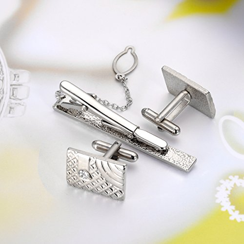 Image of HooAMI Mens Luxury Iron Cufflinks and Necktie Tie Pin Clasp Bar Set Wedding Party Gift, Silver Tone
