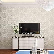 Auralum® 10m Decoración de 3D Continental Romántico Jardín del Papel Pintado Floral No-tejido Papel para Pared del Dormitorio / TV / Sala de estar, Beige