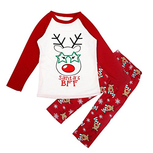 Weihnachtskleidung Baby Sannysis Frauen Deer T-Shirt Tops Bluse Hosen Pyjamas Weihnachten Set Familie Kleidung (Weiß-baby, M) (Set Pyjama Schwarzer Bär)