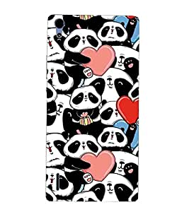 For Huawei Ascend P7 hearts Printed Cell Phone Cases, pandas Mobile Phone Cases ( Cell Phone Accessories ), cute Designer Art Pouch Pouches Covers, girly Customized Cases & Covers, sweet Smart Phone Covers , Phone Back Case Covers By Cover Dunia