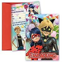 8 STK. Miraculous Lady Bug Einladungskarten, Mädchen Geburtstag Einladungen inklusive Umschlägen, Ladybug Karten
