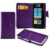 (Purple) Nokia Lumia 710 Caso fino estupendo Faux Leather succión Pad Monedero piel de la cubierta con el crédito / débito ranuras para tarjetasBy ONX3