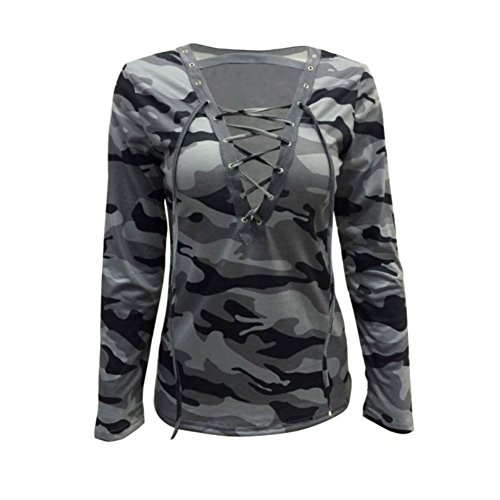 Women Long Sleeve Lace Up Camouflage Shirt Casual Blouse Tops Lady Loose T-Shirt Green