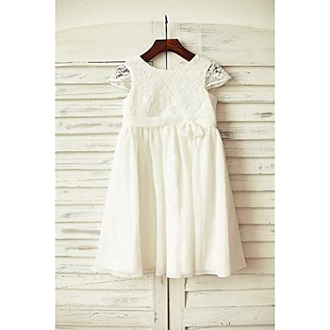 ZY/guaina/colonna al ginocchio Flower Girl Dress–Chiffon/Pizzo A Maniche Corte, Ivory,