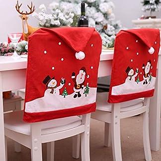 Jspoir Melodiz Paquete de 6 Cubierta de la Silla de Navidad, Fundas para Sillas de Navidad, Creativo Lindo Papá Noel y Muñeco de Nieve Decoración de Fiesta de Navidad en Casa Cena Cocina Comedor