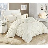 Chic Maison 10pièces Hannah Pincez plissé, volants et plissé complet dans un sac de Doudou Beige avec lit King size de lit, beige, Queen Size
