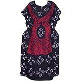Women's Caftan Red/ Black Batik Print Kaftan Kimono Beach Dress XXXL