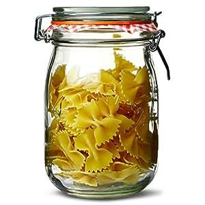 Kilner Lot de 12 pots en verre avec couvercle à clip 1L/2LB