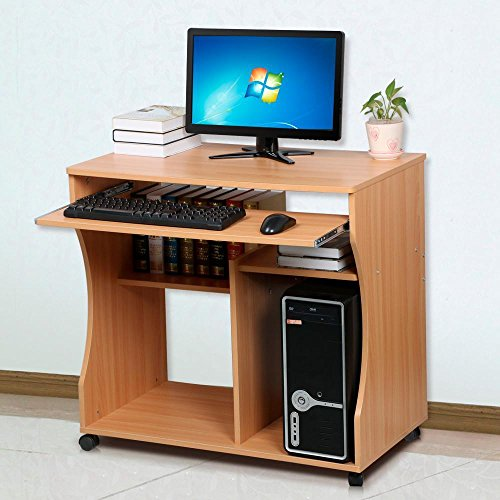 Yaheetech PC-Tisch Computertisch mobiler Schreibtisch Bürotisch mit Keyboardständer/Ablagen
