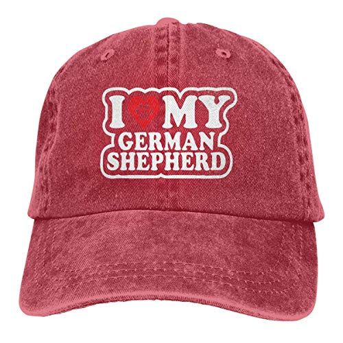 Baseballkappe Sport-Mütze I Love My German Shepherd Men's Women's Adjustable Baseball Hat Denim Jeanet Dad Hats Sports Cool Youth Golf Ball Unisex Cowboy hat Fedora Beach Hiking Skull 3D Printing Cap