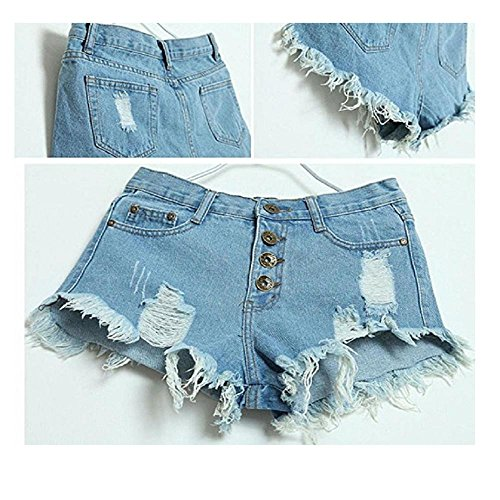 Pantalons pour femmes, Yogogo Femmes Vintage Jeans taille haute Denim Jeans courts Bleu clair